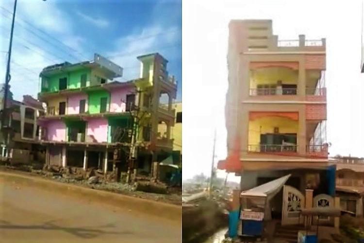 Video Evacuated three-storied building collapses in Guntur amid road widening works