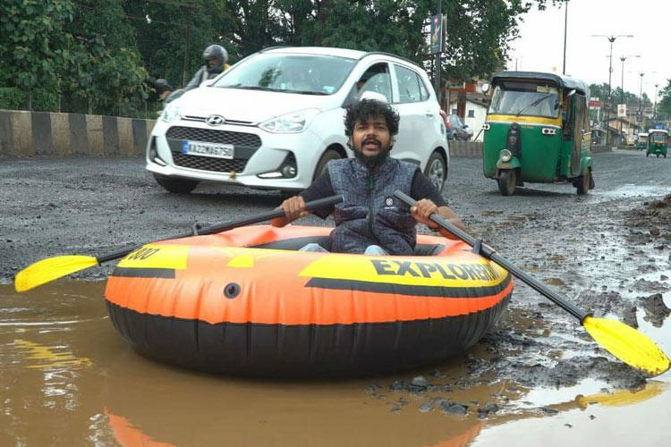 When life gives you potholes make an inflatable boat Thats what Belagavi did