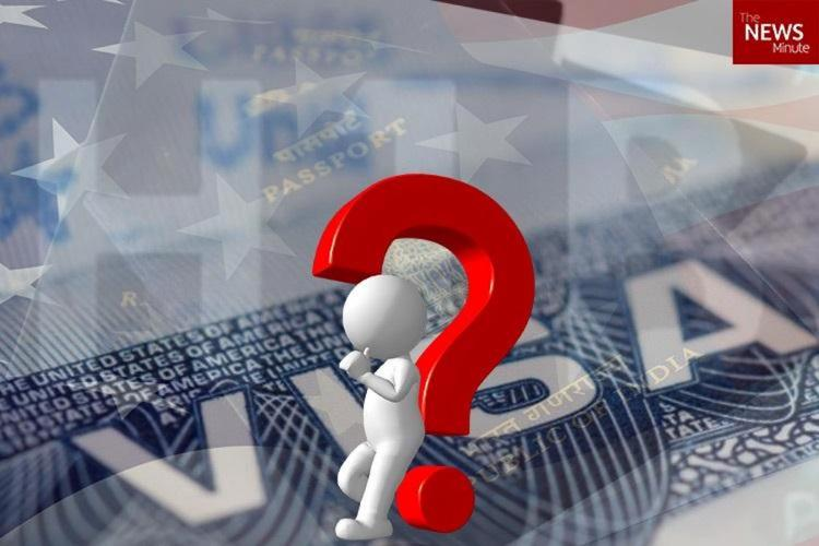 Stylised graphic of US H1B Visa with a question mark over a person