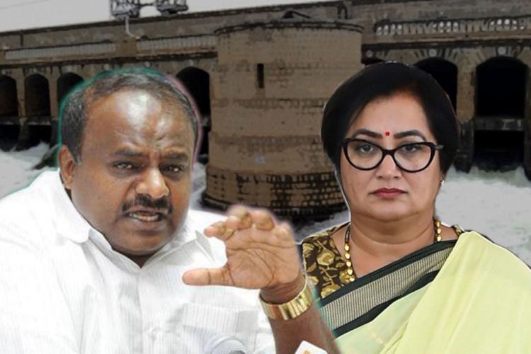 HD Kumaraswamy and Sumalatha with dam in background