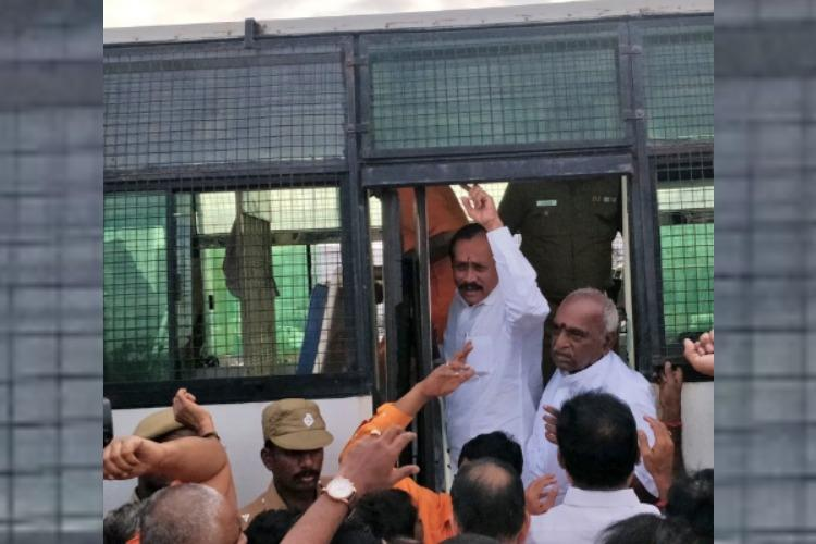 BJPs Pon Radhakrishnan H Raja detained after dharna demanding Nellai Kannans arrest