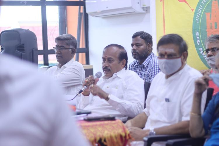 H Raja speaking at an event