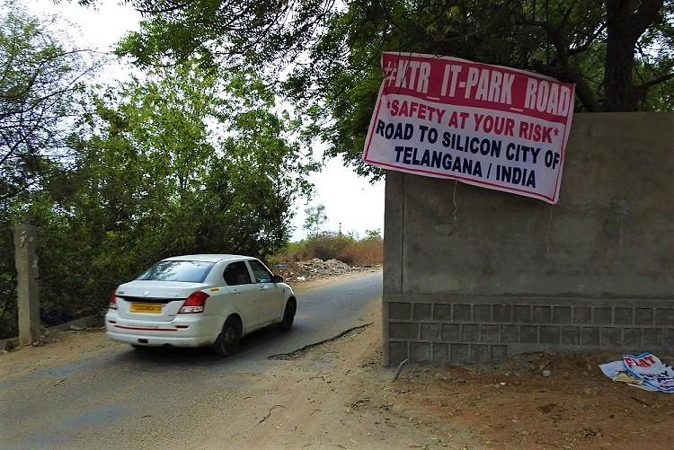 Safety at your own risk Irked with bad road Hyderabad residents name it after KTR