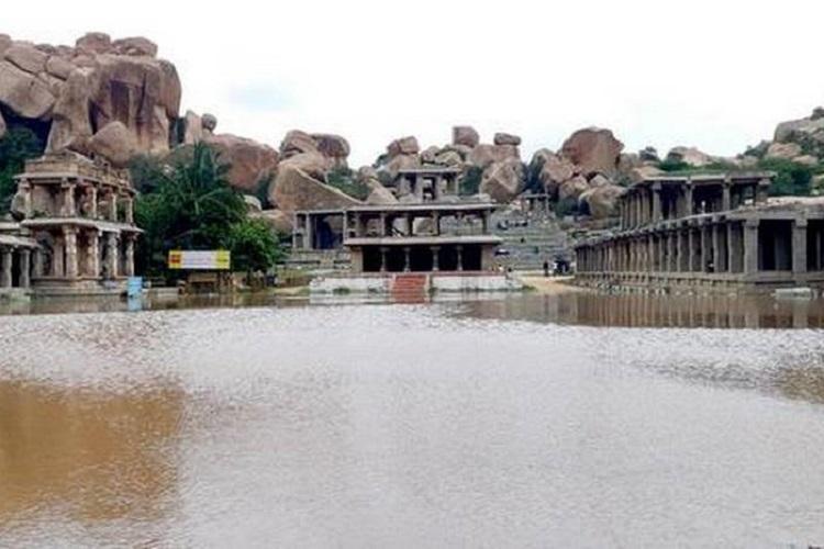 Karnataka rains Monuments at Hampi UNESCO World Heritage Site inundated