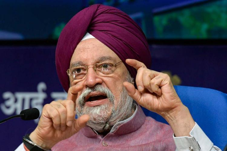 Union Minister for Housing and Urban Affairs Hardeep Singh Puri at a press conference