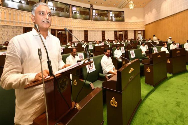 State Finance Minister Harish Rao Tanneeru presenting budget
