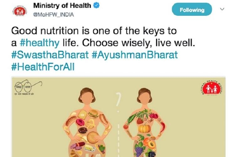 Wheres the gau mutr Twitter slams Health Mins poster equating non-veg with junk