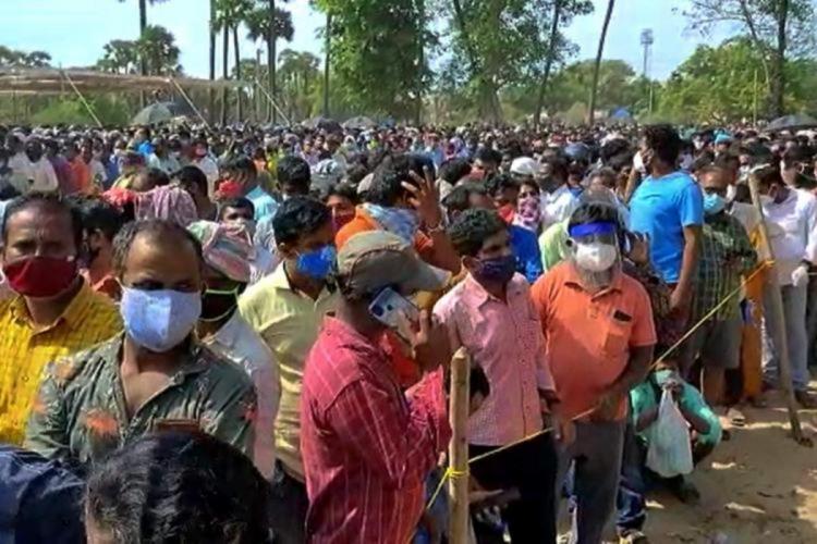 Crowds at Krishnapatnam of Andhra Pradesh