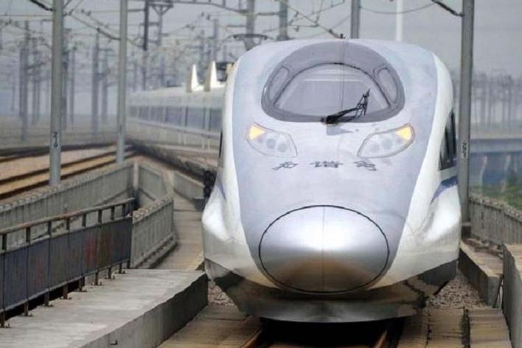 Representative image for high speed train The train resembling a bullet train is clad in silver