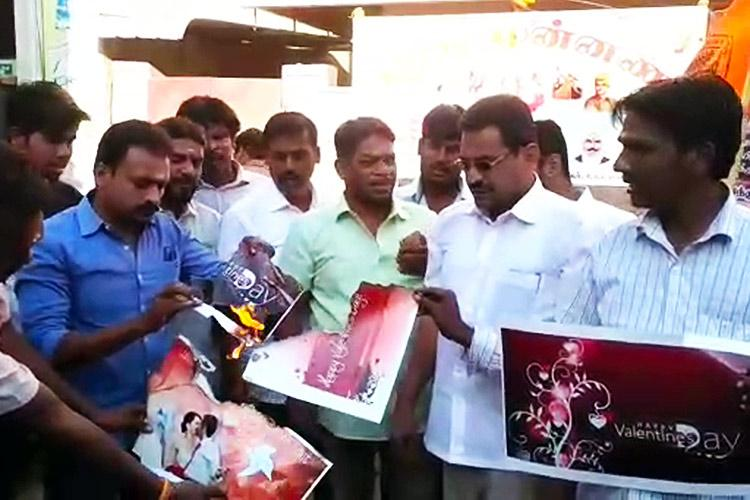 23 Hindu Munnani men detained in Coimbatore for burning Valentines Day posters