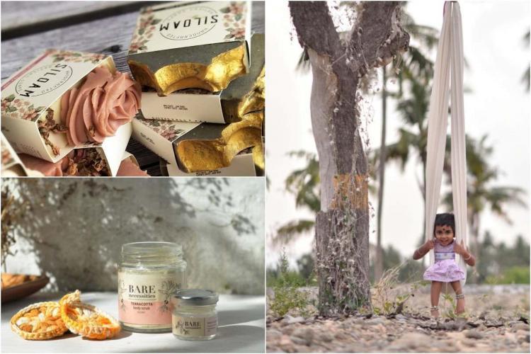 Collage of Bare Necessities Siloam soaps and Nurpu thooli