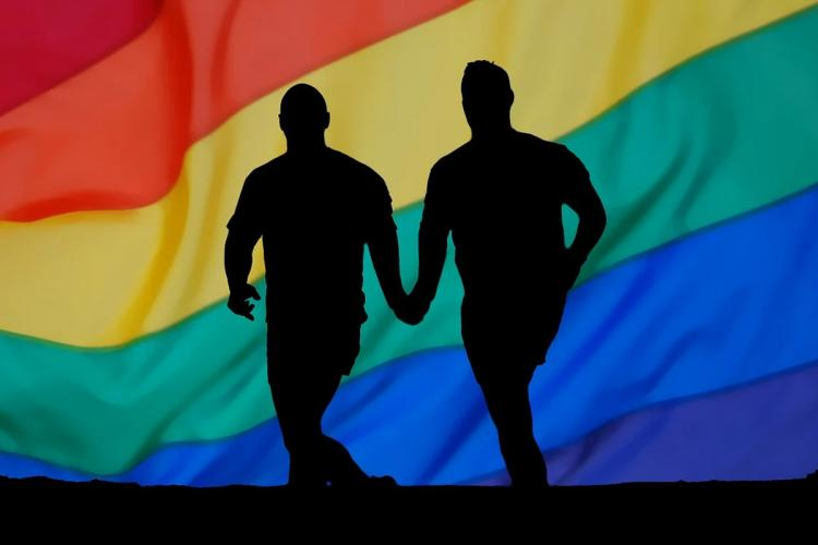 Silhouettes of two men holding hands and running against the rainbow flag of LGBTQI community