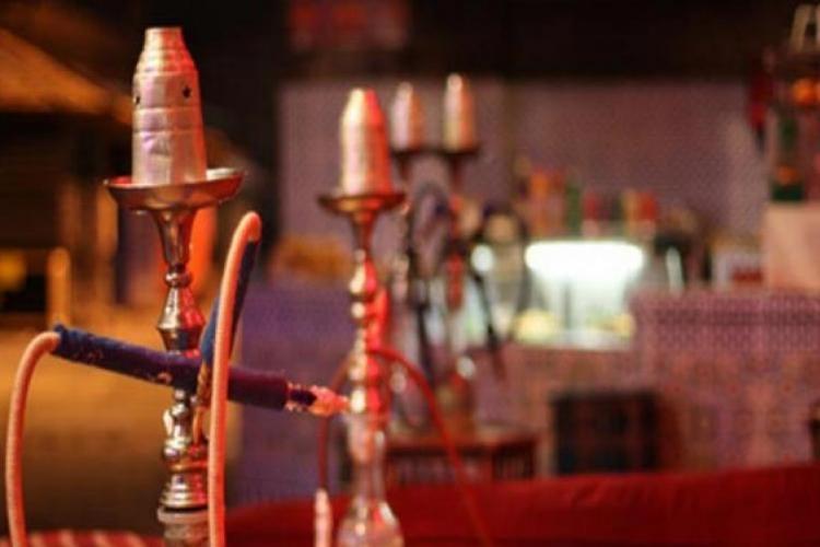 Hookah lined up in bar