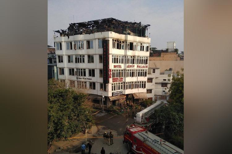 At least 17 killed in major fire at Hotel Arpit Palace in Delhi over 30 rescued