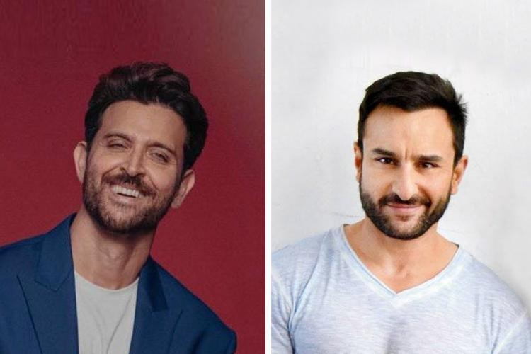 Actor Hrithik Roshan on the left and Saif Ali Khan on the right