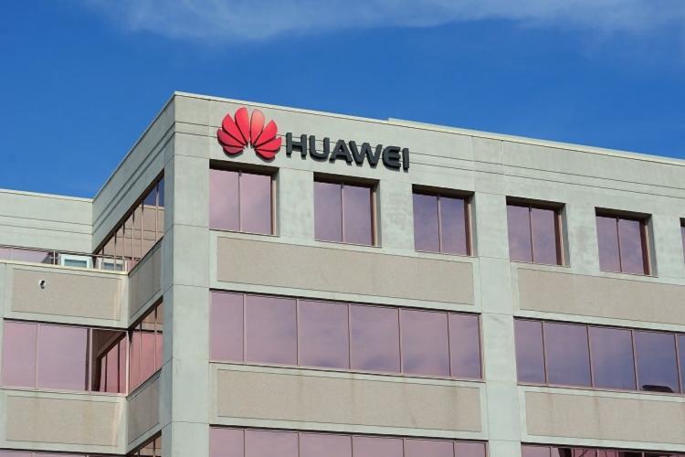 Huawei logo on building