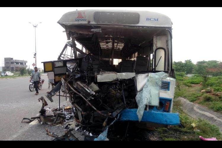 Bus-truck collision in Hyderabad leaves driver dead 15 injured