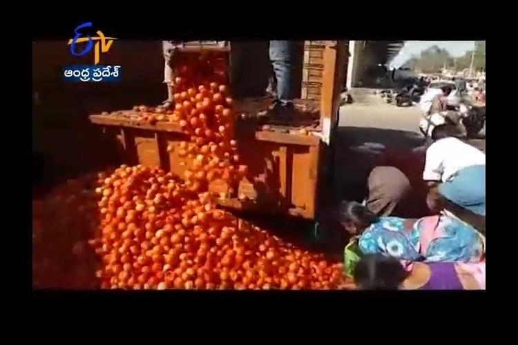 Unable to get more than Rs 2 per kg farmer dumps two tonnes of tomatoes in Hyderabad market
