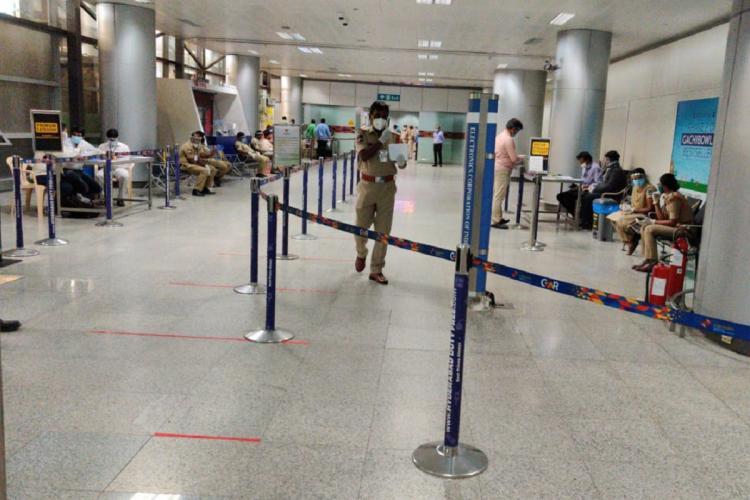 Authorities at the Hyderabad airport amid the coronavirus pandemic