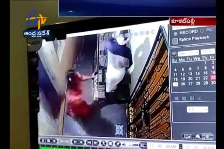 Video Hyderabad sisters attack watchman with knife CCTV records incident