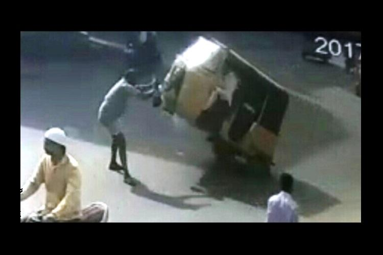 Watch Freak accident in Hyderabad as auto hits pedestrian in the chest kills him