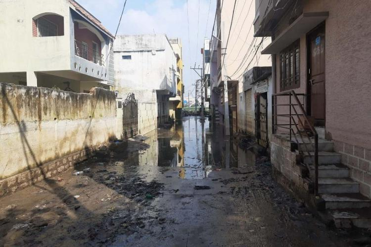 Water and slush on the streets of Nadeem colony
