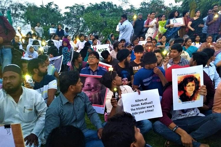 Beti Bachao BJP Bhagao Protests in Hyd and Bengaluru over Unnao and Kathua rapes