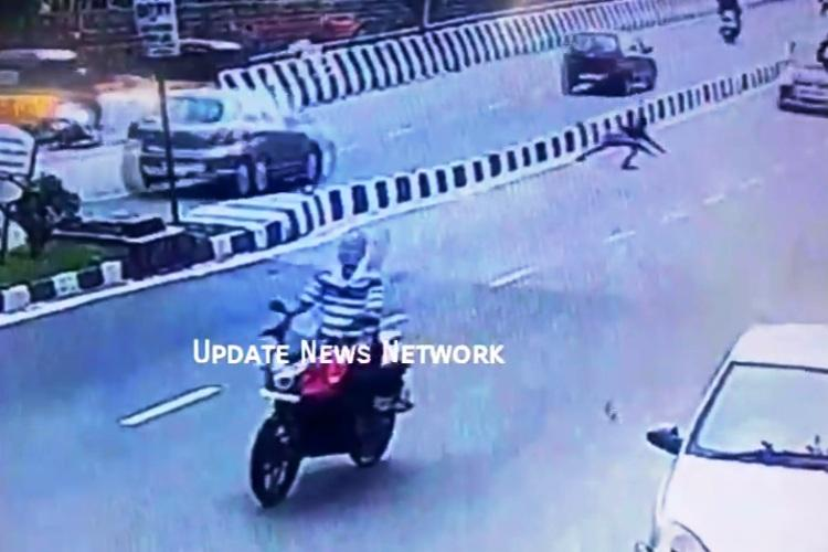 Caught on CCTV: Hyderabad man jumps in front of a car, gets