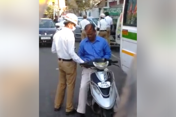 Now a video of Hyderabad traffic cop taking a bribe goes viral he gets sacked