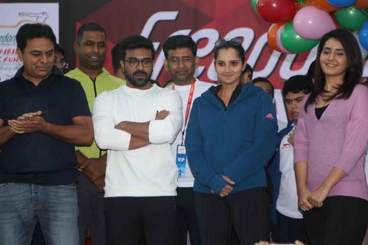 Star-studded start for Hyderabad 10k flagged off by KTR Ram Charan and Sania Mirza