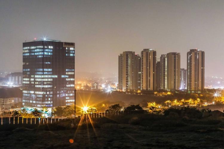 Skyscrapers in Hyderabad city at night