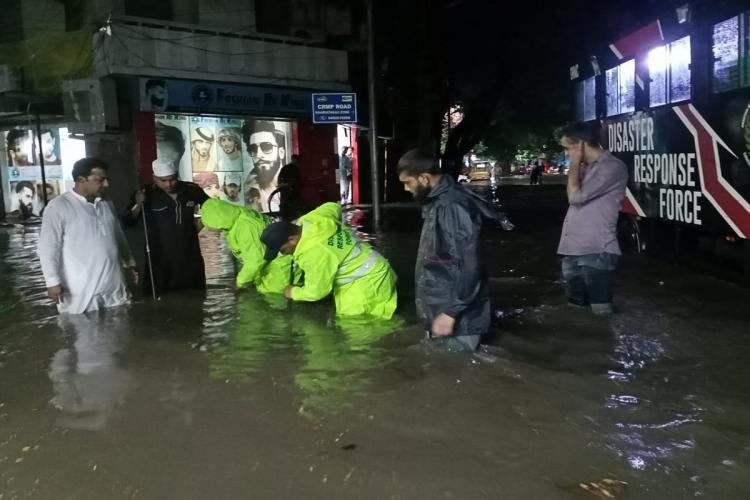 Heavy rains accompanied by thunderstorm and lightning lashed Hyderabad and its suburbs on Friday evening leaving several parts of the city inundated