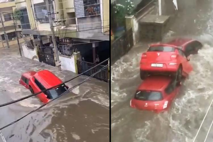 A collage of cars submerged in the Hyderabad rains