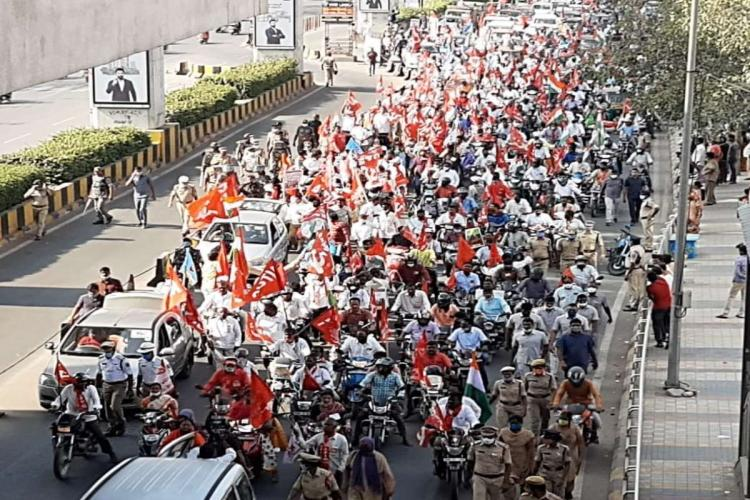 Farmer union protest in Hyderabad Fewer people turn up as police delay permission