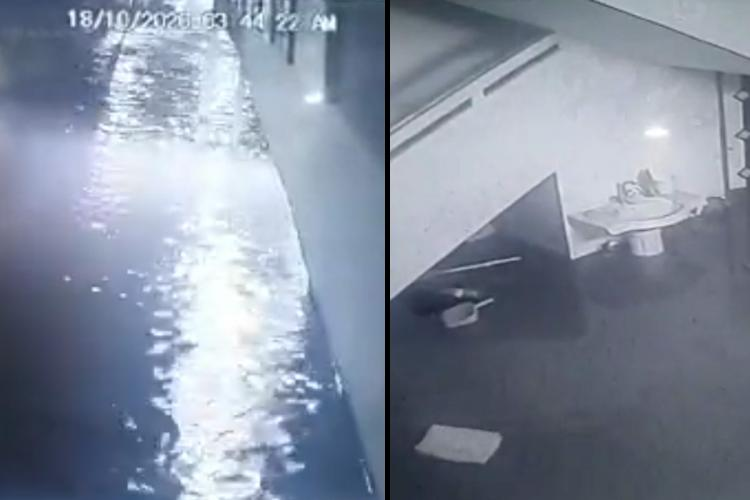 Collage of CCTV footage showing water levels