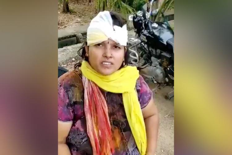 Image of an injured Kavitha after she got 9 stitches on her head