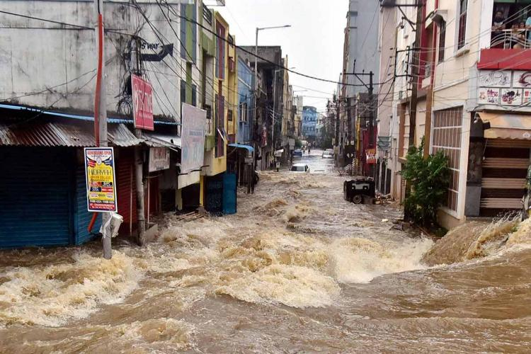 A flooded street in Hyderabad after the rains wreaked havoc