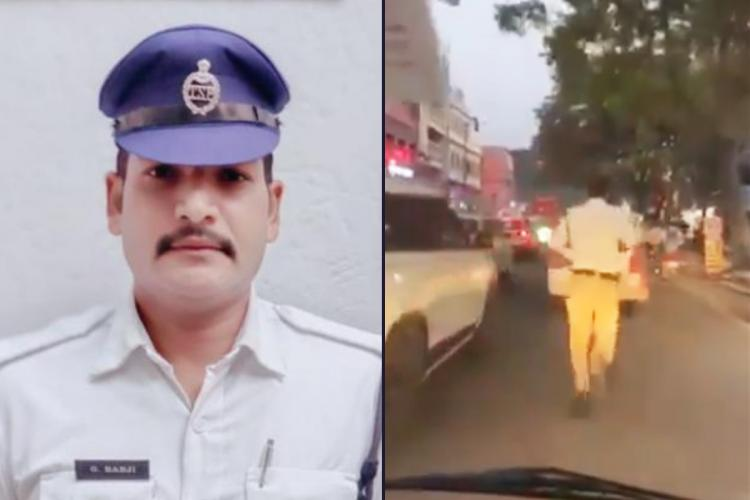 Hyderabad Traffic cop in one part and in the other the cop was seen running in the traffic clearing way for an ambulance