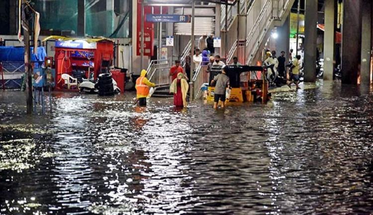 A flooded junction in Hyderabad