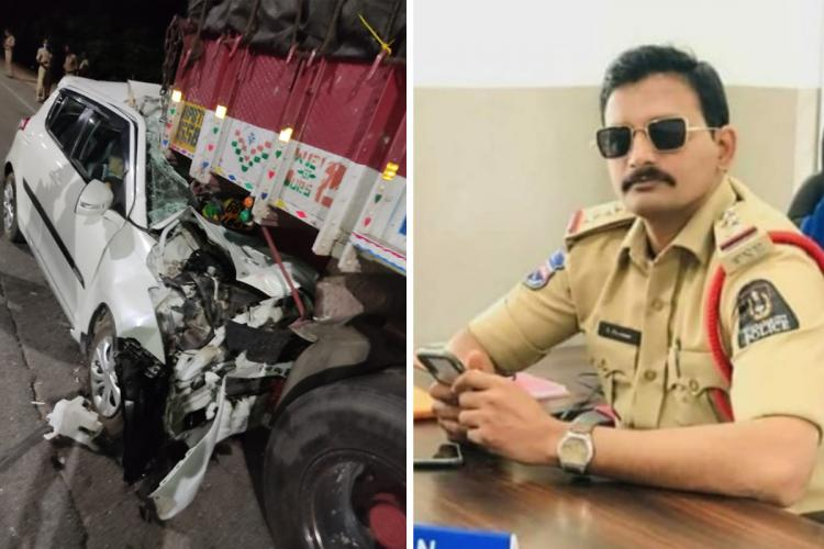 A collage of an image of the car accident and Inspector Laxman