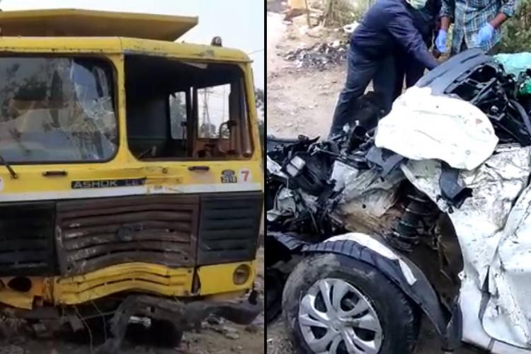 A collage of the damaged front of the tipper lorry and the mangled remains of the car that were involved in an accident in Hyderabad IT corridor