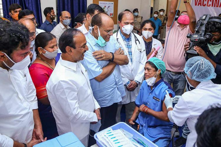 Telangana Health Minister Eatala Rajender overseeing the vaccination drive in Hyderabad