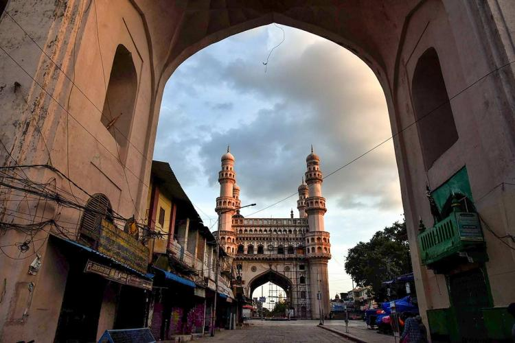 An image of Charminar taken from one of the Darwazas during the lockdown