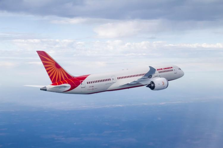 An Air India plane in mid-flight