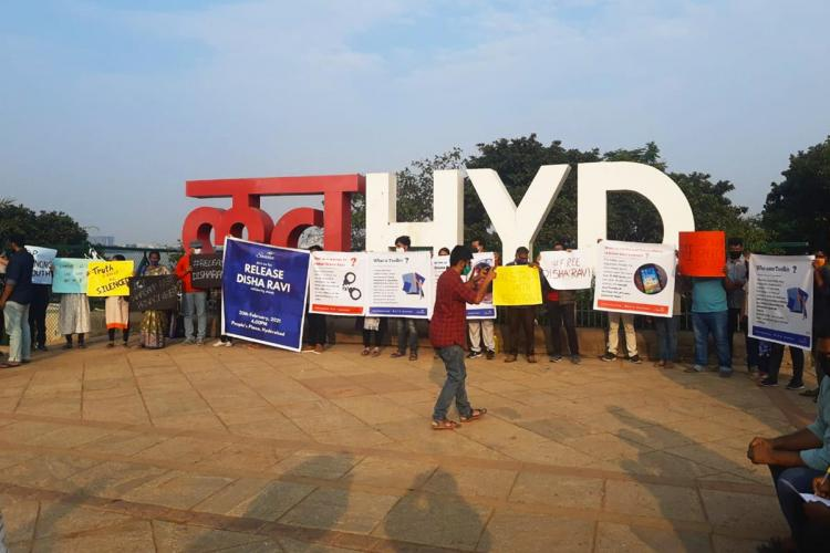 Hyderabad citizens gather in solidarity with Disha Ravi