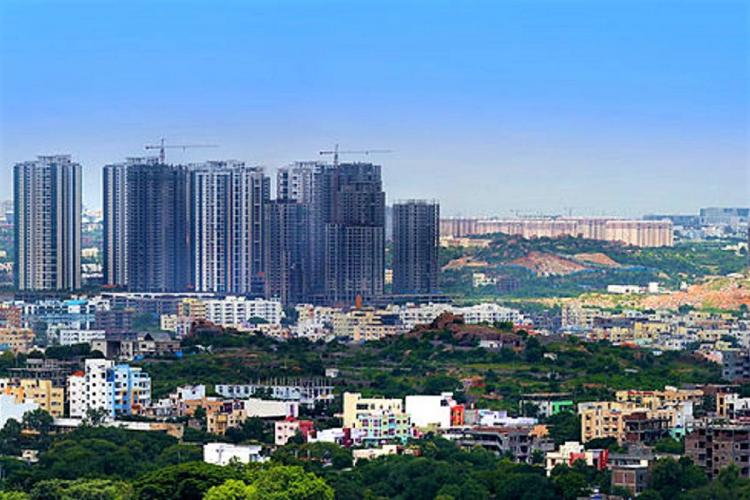 A skyline picture of the financial district in Hyderabad