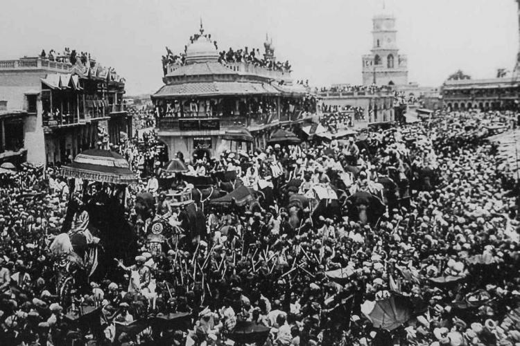 A black and white picture of the coronation for Osman Ali Khan in September, 1911