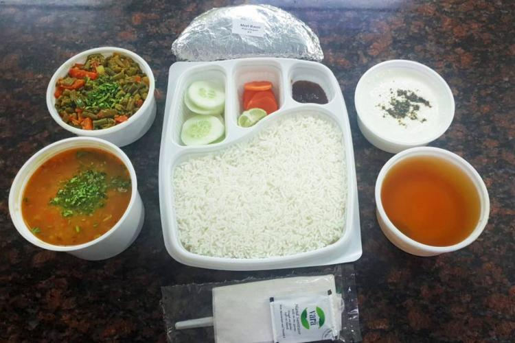 A meal all set to be packed for delivery