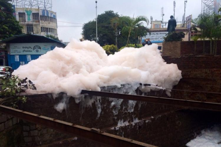 Video After Bengaluru now lake in Hyderabad overflows with froth