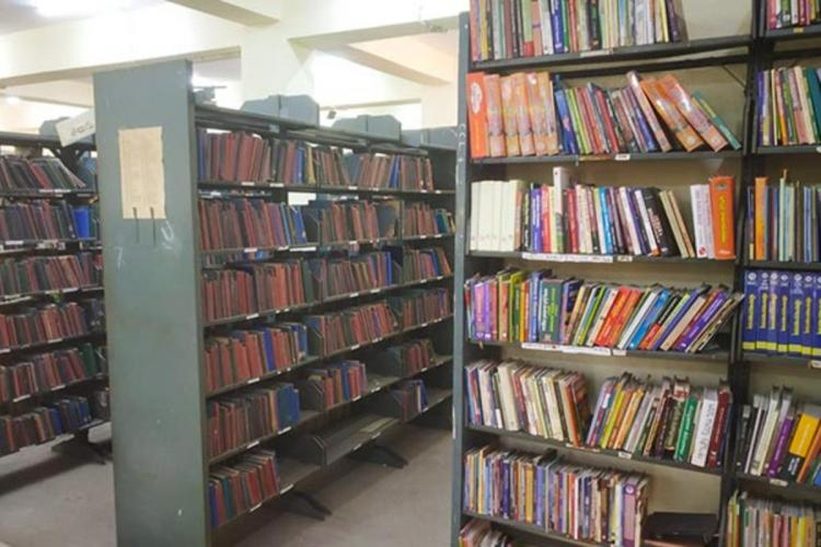 Bookshelves at the City Central Library in Hyderabad